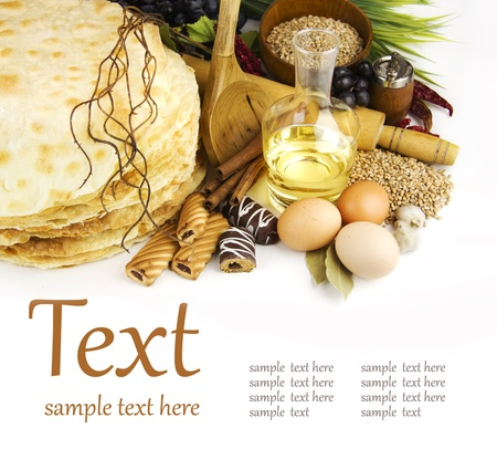 rice mill: Ingredients for cooking on a white background  (With sample text)