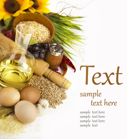 oil mill: Ingredients for cooking on a white background  (With sample text)