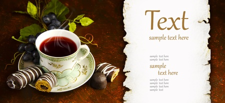 antique tea cup with a silver spoon Stock Photo - 12071670