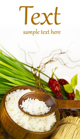 china cuisine: rice in wooden bowl  (With sample text)