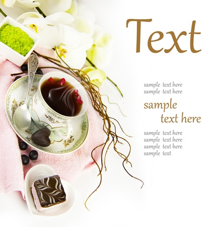 tea towel: cup of tea in the spa  (With sample text)