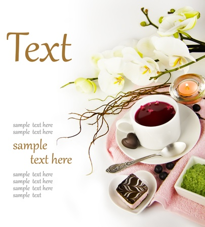 cup of tea in the spa  (With sample text) photo