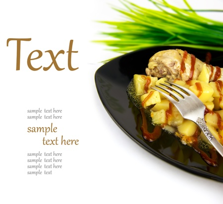 regale with kortofelem, meat and spices  (With sample text) photo
