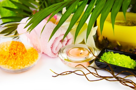 spa still life: Spa setting with candle, salt and palm branch.  (With sample text) Stock Photo