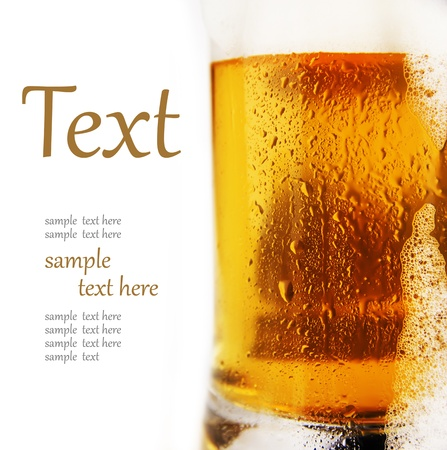cold glass of beer with foam  (With sample text)