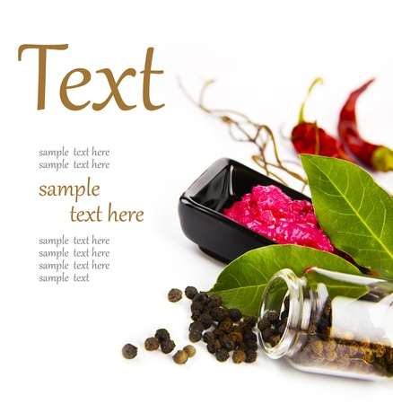 Hot spices (pepper, horseradish, bay leaf) With sample text Stock Photo - 12206845