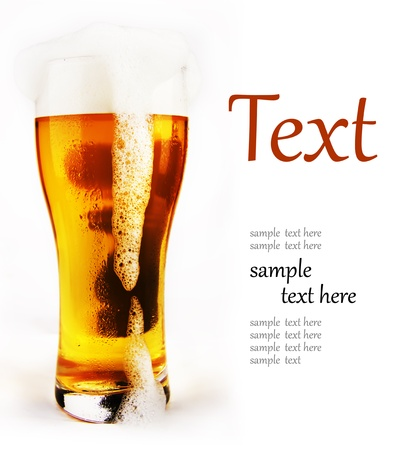 cold glass of beer with foam  (With sample text) Stock Photo - 12206853