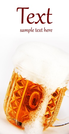glass of beer on white background (With sample text) photo