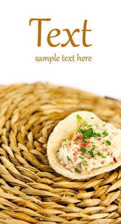 aliments: portion of rice in a sauce with spices  (With sample text) Stock Photo