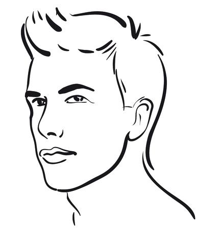 visage homme: le visage des hommes jeunes (Vector illustratio) Illustration