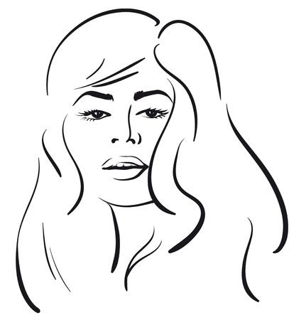 beauty girl face. (Vector Illustratio) Stock Vector - 12484160