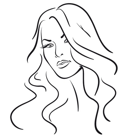 beauty girl face. (Vector Illustratio)