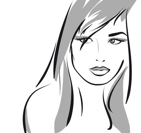 nude woman: beauty girl face. (Vector Illustratio) Illustration