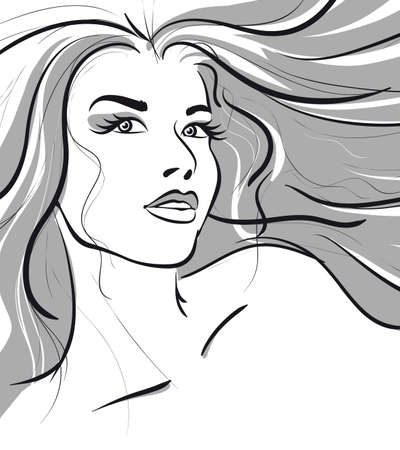 beauty girl face. (Vector Illustratio) Vector