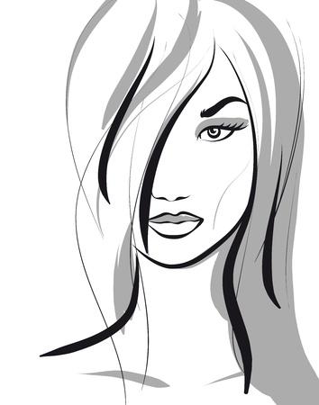 beauty girl face. (Vector Illustratio) Stock Vector - 12484172