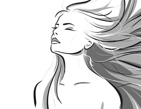 schoonheid meisje gezicht. (Vector illustratio)