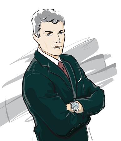 employ� heureux: Jeune, homme d'affaires confiant (Vector Illustratio)