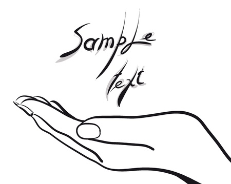 palma de la mano con texto de ejemplo (Vector Illustratio)