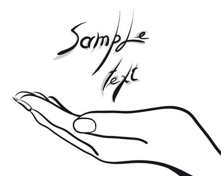 manos abiertas: palma de la mano con texto de ejemplo (Vector Illustratio) Vectores