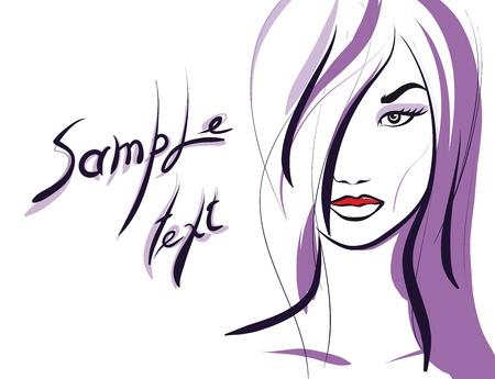 beauty girl face. (Vector Illustratio) Stock Vector - 12484242