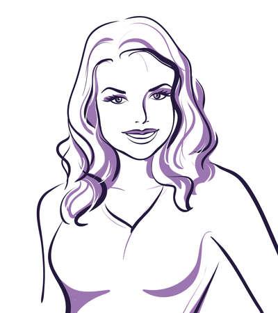 beauty girl face. (Vector Illustratio) Stock Vector - 12484240