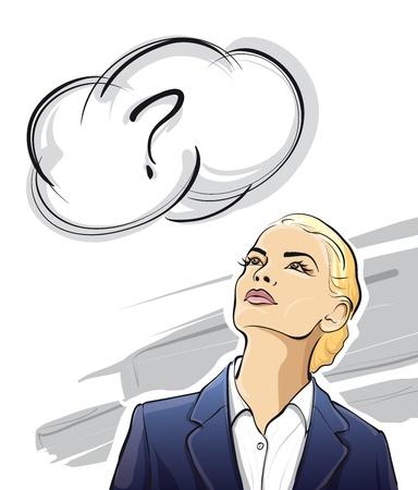 denkender mensch: Business-Dame auf der Suche nach Ideen (Vector Illustratio)