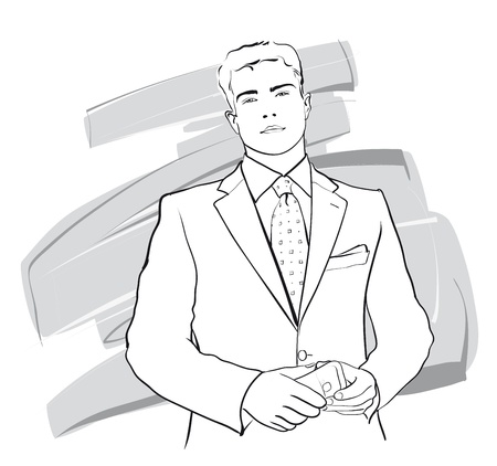 Young, confident businessman (Vector Illustratio) Stock Vector - 12484250