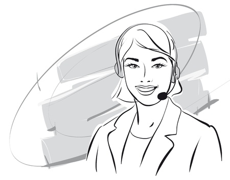 girl support phone operator in headset   Vector Illustratio  Vector
