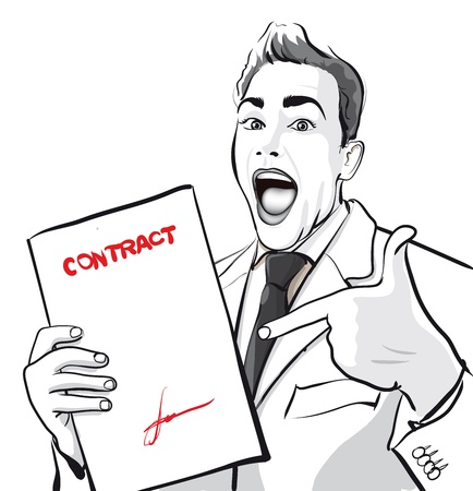happy man with a signed contract   Vector Illustratio  Vector