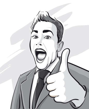 reached: Man has reached huge success   Vector Illustratio