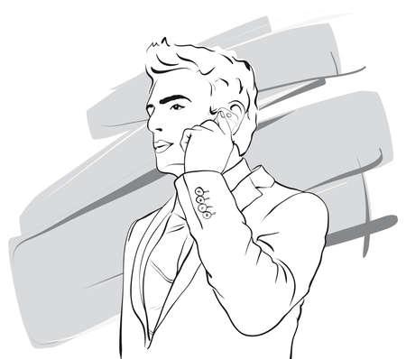 telephone salesman: successful businessman talking on the phone   Vector Illustratio