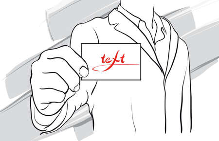 blank business card: hand holding a blank business card Illustratio