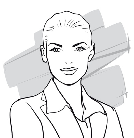 foreground: beautiful woman in a business suit   Vector Illustratio