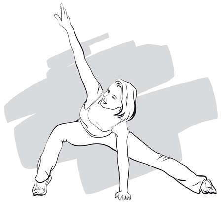 muscular build: she goes in for sports, fitness   Vector Illustratio