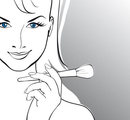 make up brush: hermosa chica con un cepillo para el maquillaje de Vector Illustratio