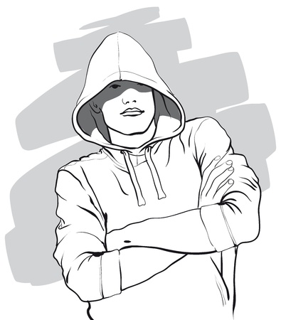 beanie: some guy with a face covered by a hood   Vector Illustratio
