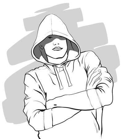 un tipo con la cara cubierta por una capucha Illustratio Vector