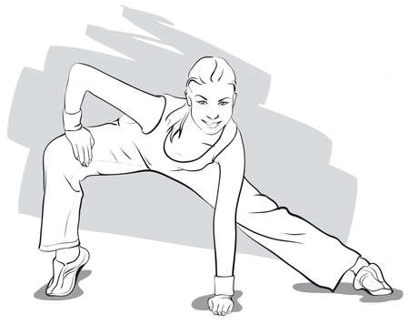 fitness instructor: she goes in for sports, fitness   Vector Illustratio