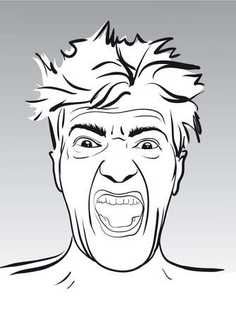 mad man: emotions of a desperate cry of a mad man  Vector Illustratio
