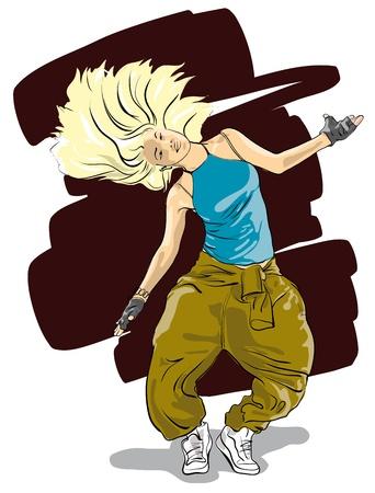 hip hop dance pose: hermosa chica bailarina de hip-hop Vector Illustratio Vectores