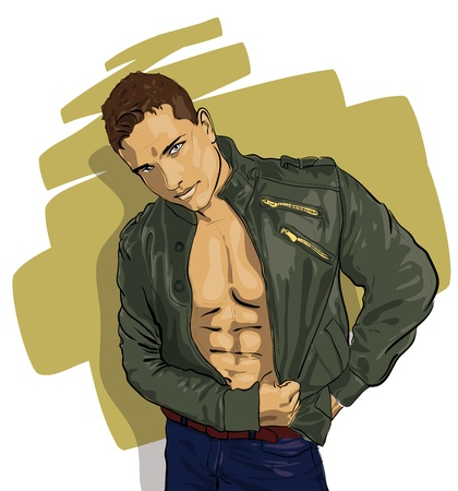 nude man: handsome guy in a leather jacket over his naked body  Vector Illustratio