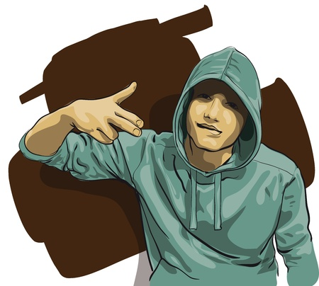some guy with a face covered by a hood   Vector Illustratio