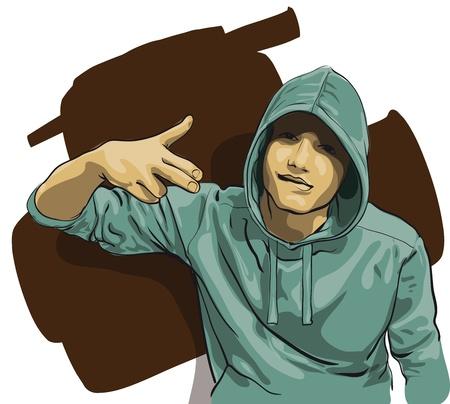 homelessness: un tizio con la faccia coperta da un cappuccio Vector illustratio