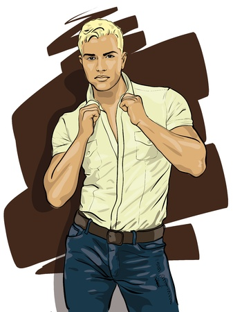 male fashion model: handsome guy with an expressive glance  Vector Illustratio  Illustration