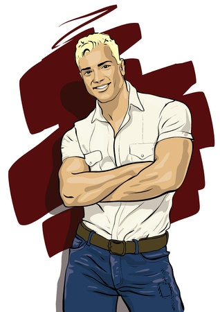 arm muskeln: ein Kerl mit einer sch�nen Figur und angenehmen Gesicht Vektor Illustratio Illustration