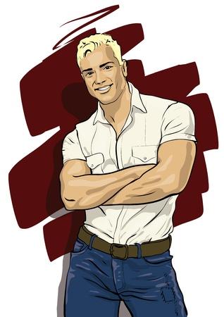 moda casual: un tipo con una bella figura y rostro agradable Illustratio Vector