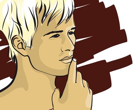 남자 벡터 Illustratio의 생각에 잠겨있는 얼굴 스톡 콘텐츠 - 12484413