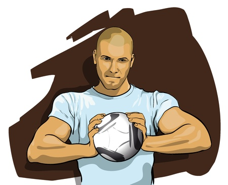 player with the ball looking to join a game Stock Vector - 12484335