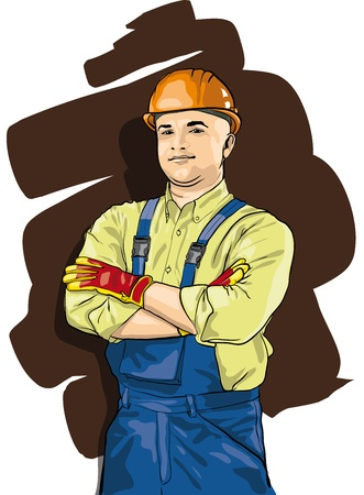 foreman: a man working in special protective clothing and helmet Illustration