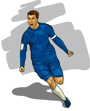 soccer players: Leading player with the ball  Vector Illustratio